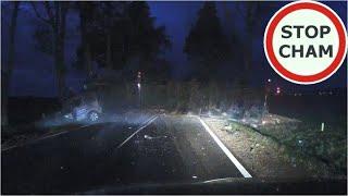 Wypadek ciężarówki z drzewem i osobówki na DK63 – nagranie świadka