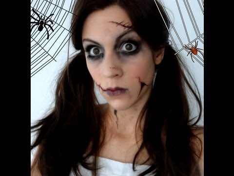 Maquillage d 39 halloween poup e d moniaque geekly chic Maquillage de diablesse facile a faire