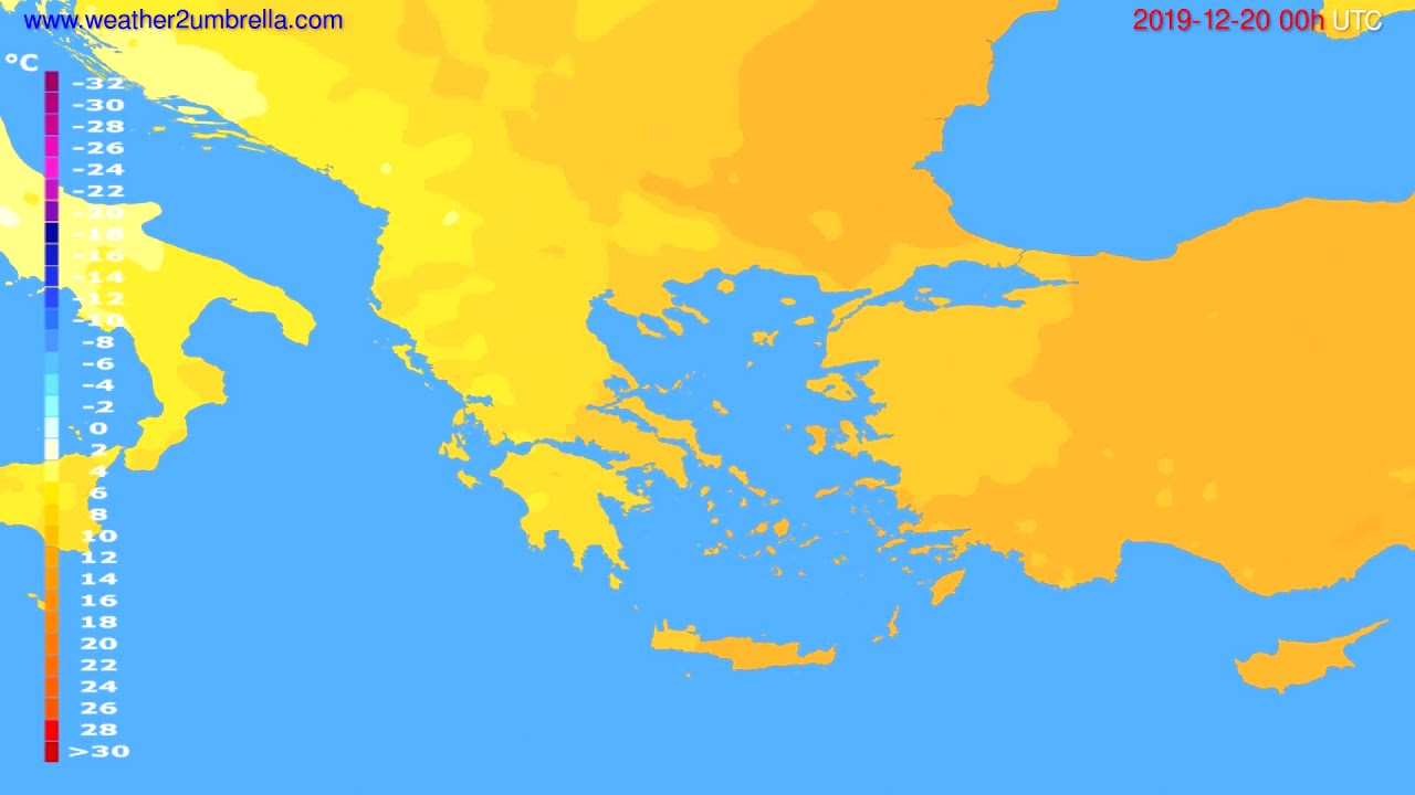 Temperature forecast Greece // modelrun: 00h UTC 2019-12-19