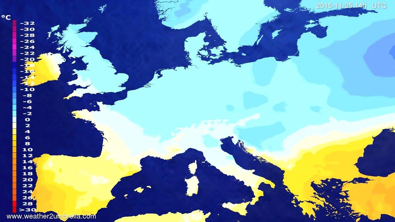 Temperature forecast Europe 2015-11-23