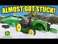 Farming Simulator 2017  The John Deere Almost Got Buried In A Foot Of Snow  Ep 16