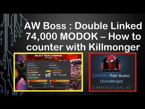 Alliance War Boss: How To Beat Double Linked Modok -- Killmonger Hard Counter [mcoc]