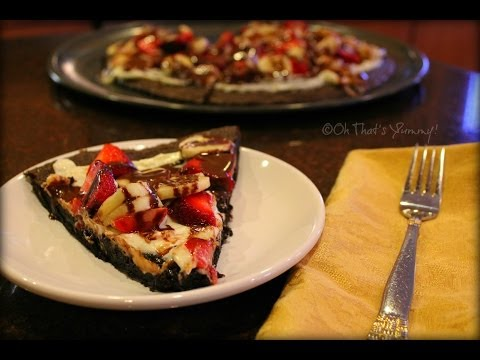 Brownie Dessert Pizza with Bananas & Strawberries