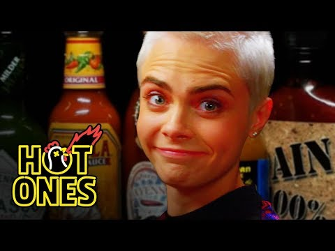 Cara Delevingne Shows Her Hot Sauce Balls While Eating Spicy Wings | Hot Ones