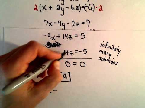 System von 3 Gleichungen, 3 Unbekannten mit Substitution - Ex 3