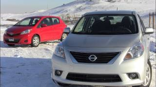 2012 Nissan Versa Vs Toyota Yaris Mashup Review&0-60 MPH Drive