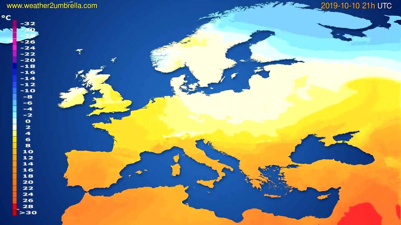 Temperature forecast Europe // modelrun: 12h UTC 2019-10-08
