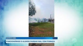 Funcionários e alunos de escola passam mal após inalarem fumaça de incêndio
