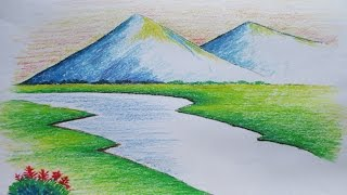 Beginners Mountain Landscape Drawing with Oil Pastel