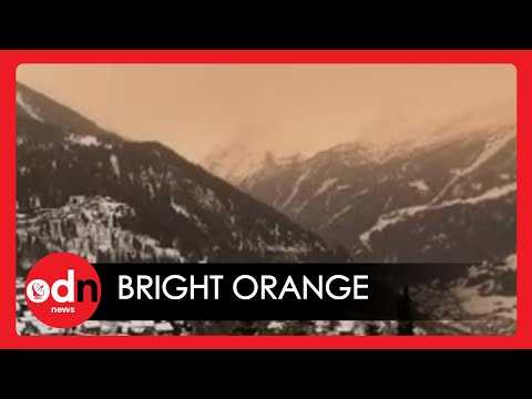 Saharan sandstorm turns Swiss Alps orange