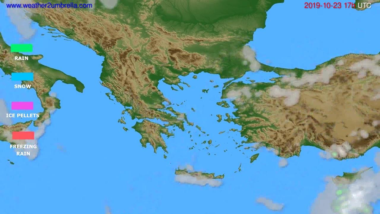 Precipitation forecast Greece // modelrun: 12h UTC 2019-10-22