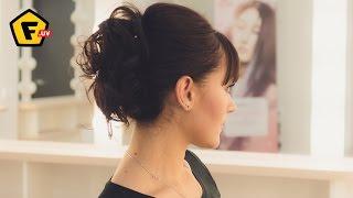 высокие прически на среднюю длину волос фото