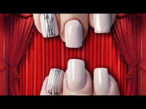 Nail designs - Коррекция ногтей короткий квадрат полигелем. Дизайн ногтей паутинка