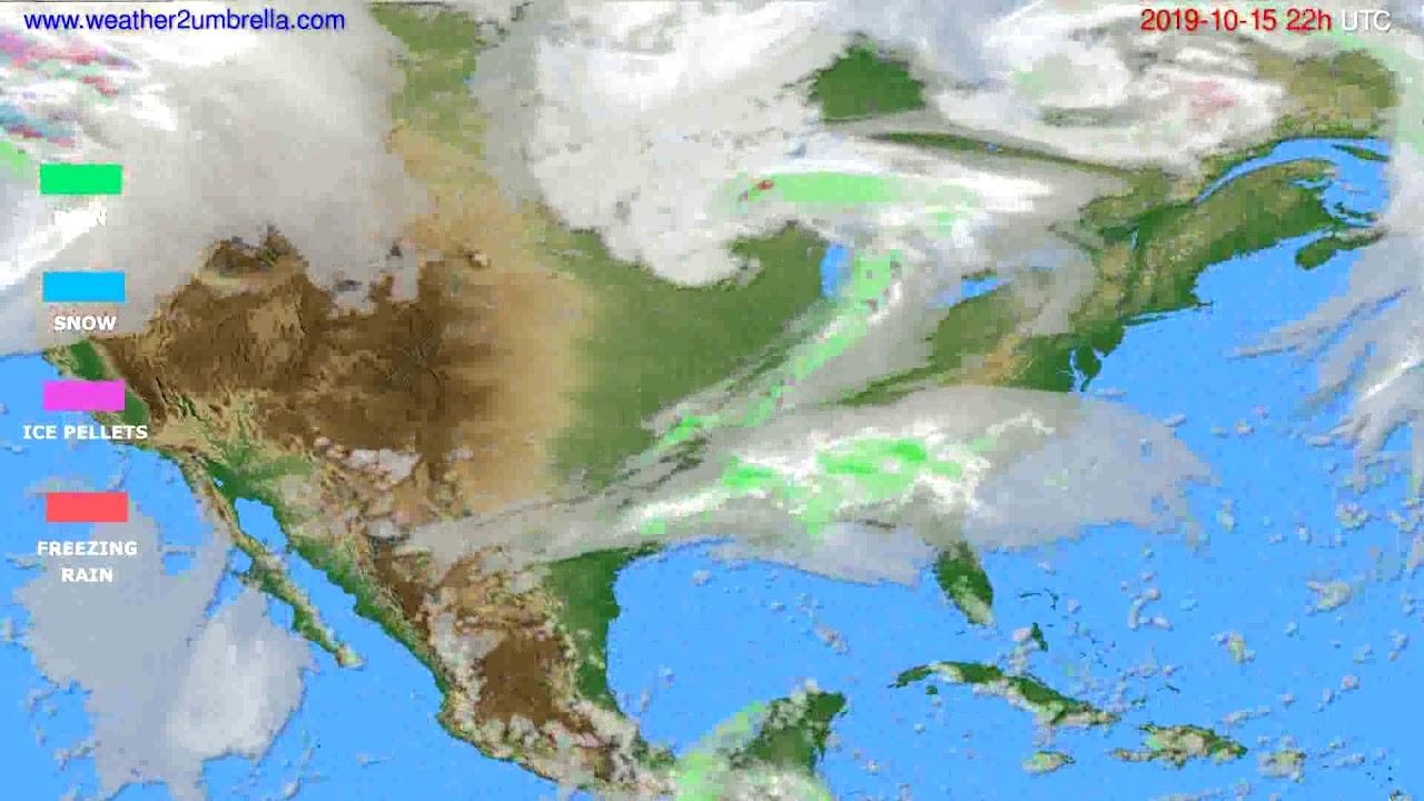 Precipitation forecast USA & Canada // modelrun: 00h UTC 2019-10-13