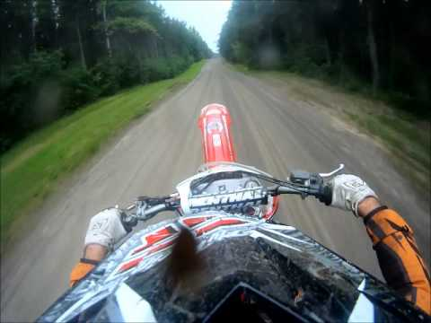 Crf450 - 2008 Honda CRF 450 HELMET CAM and 08 Yamaha YZ450F going through trails in Terrace Bay, Ontario - Canada.