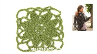 DROPS Crocheting Tutorial: How To Work A Flower Square.