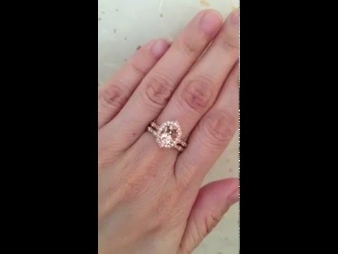 Bridal Set Vintage Floral Oval Morganite Engagement Ring and Diamond Wedding Band by La More Design