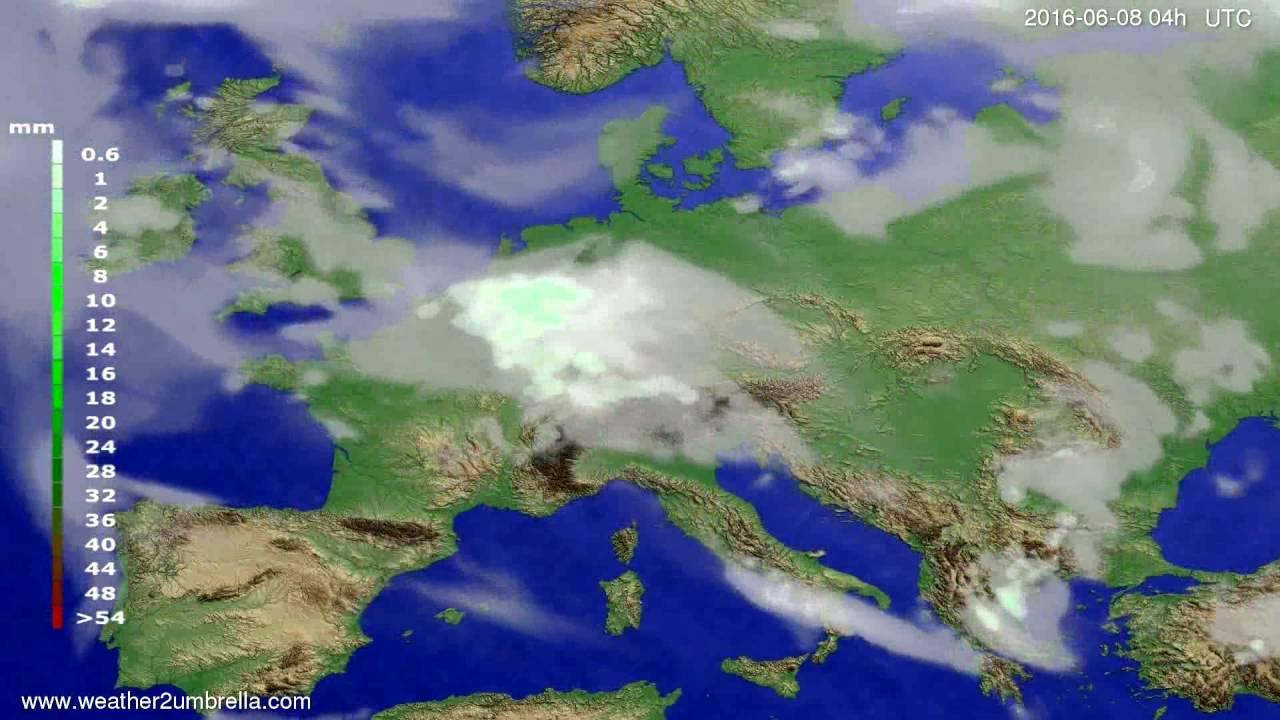 Precipitation forecast Europe 2016-06-04