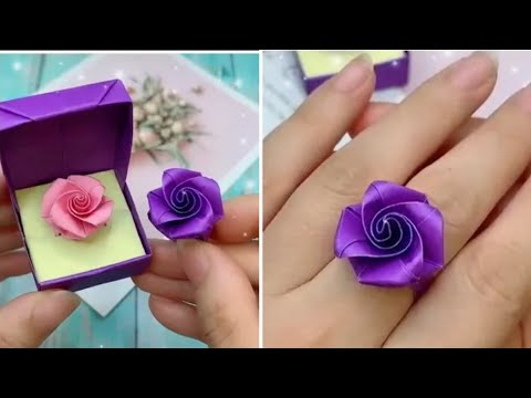 How to make beautiful Rose Ring /  How to make paper things /DIY paper rose ring / Paper craft ideas
