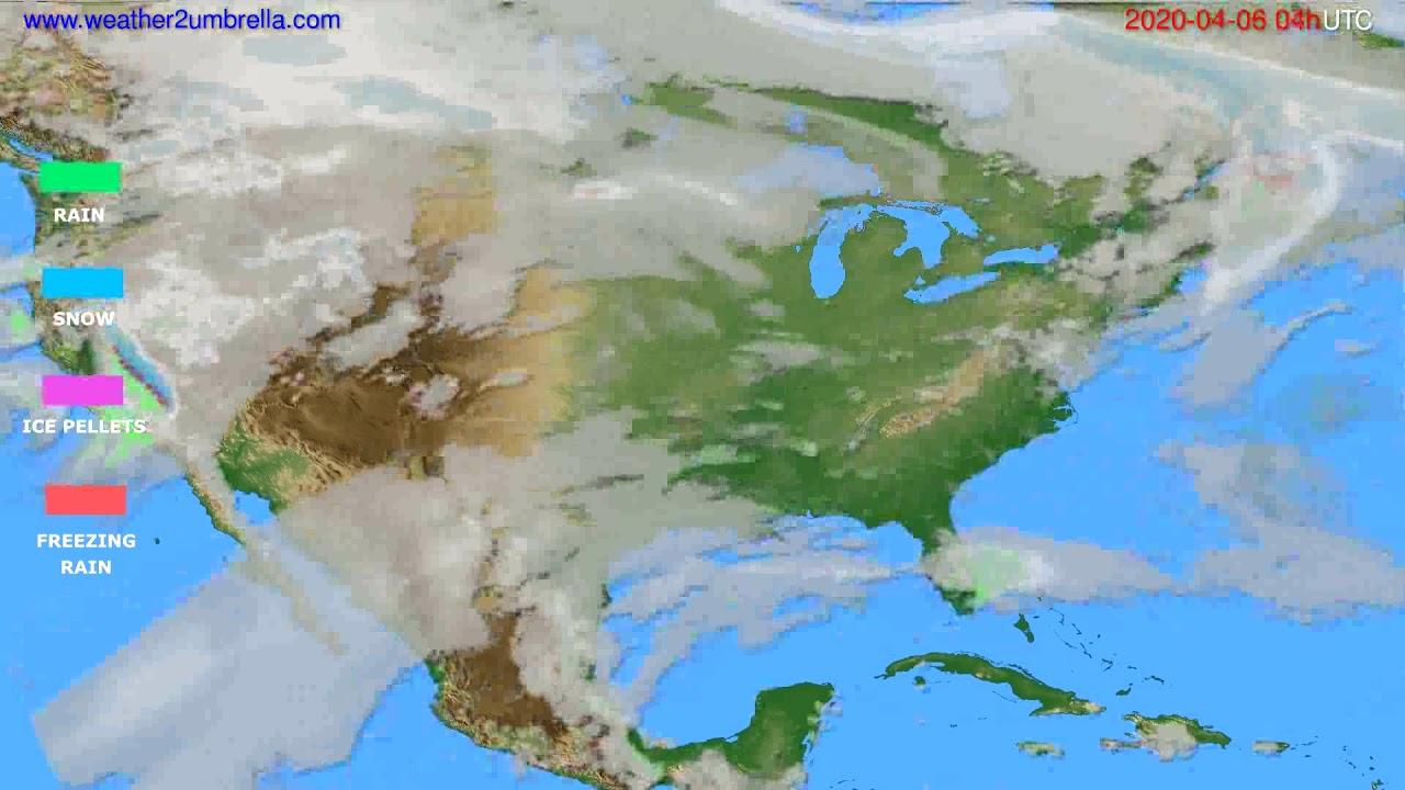 Precipitation forecast USA & Canada // modelrun: 12h UTC 2020-04-05