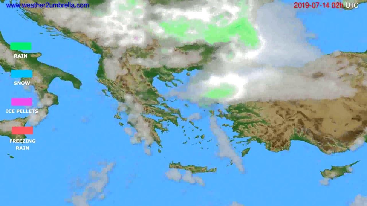 Precipitation forecast Greece // modelrun: 00h UTC 2019-07-12