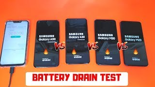 Samsung Galaxy M30 VS Galaxy M20 VS Galaxy A30 VS Galaxy A50 | Battery Discharging Test Comparison