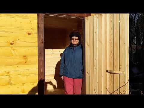 Видеоотзыв о проделанной нами работе по изготовлению и установке деревянной мобильной бани из профилированного бруса. Проект Б-2. Размер бани 4,0 х 2,3 м