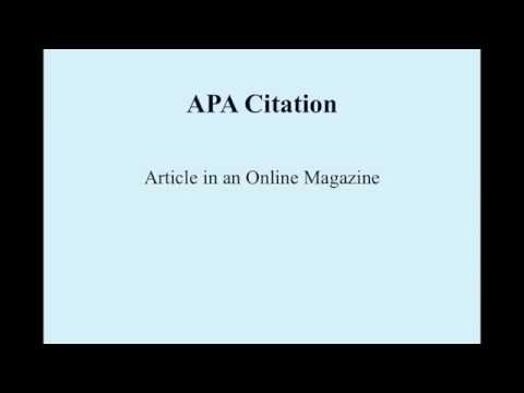 Apa for article online