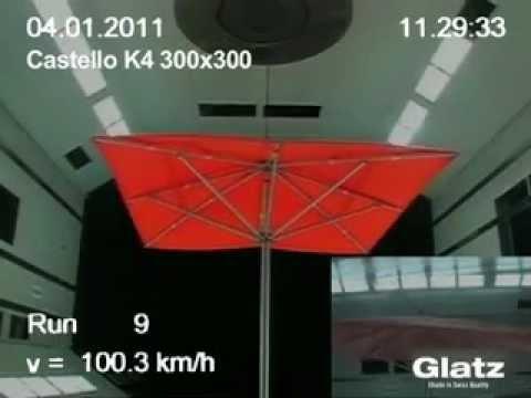 Sonnenschirme von Glatz im Windkanal getestet - erhätlich bei gartenmoebelprofis.de