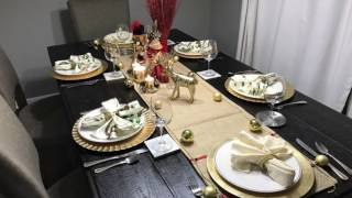 Christmas Tablescape; using items from Dollar Tree, Michaels a...