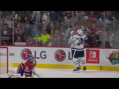 Video: Marner sets up Matthews for Maple Leafs' fifth goal against Canadiens