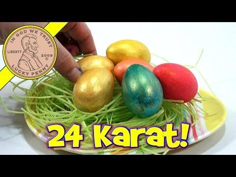 24 Karat Golden Easter Egg Coloring Kit & Plastic Easter Eggs!