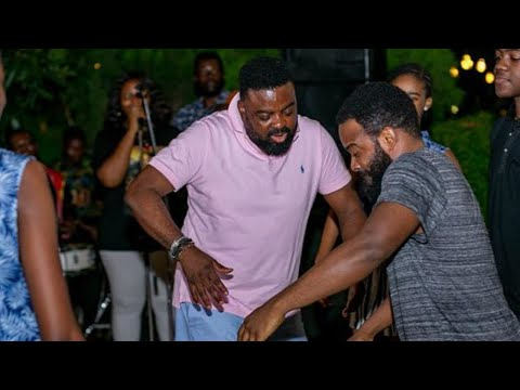 Kunle Afolayan, mum and Gabriel Afolayan dancing at birthday party