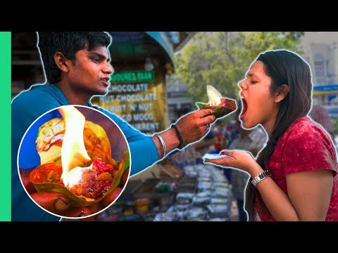 Exotic Indian Street Food Tour In Delhi, India! Crazy Flaming Fire Paan!