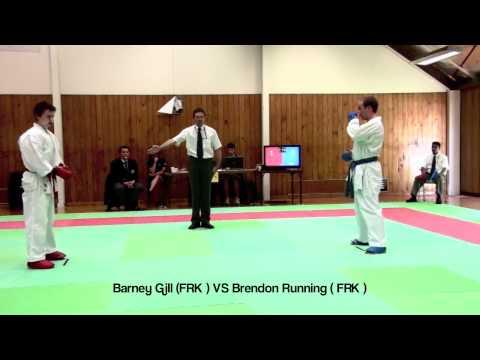 KUMITE Barney Gill (FRK ) VS Brendon Running ( FRK )- Hamilton Open 2012
