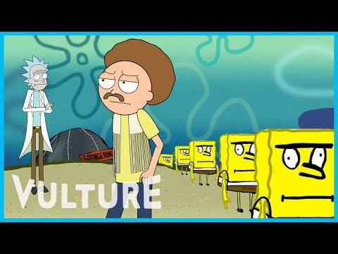 The Rick and Morty cast improvises a mini episode set in the Spongebob Universe