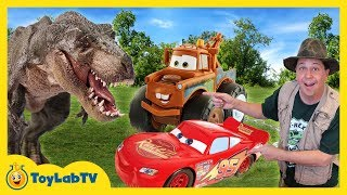 T-Rex Dinosaur & Cars 3 Surprise Toy Search With Lightning McQueen & Giant Mater Truck
