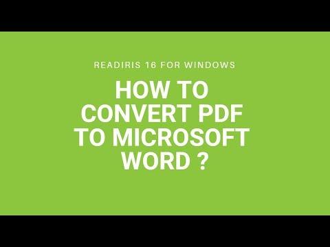 Readiris 16 Windows: How to convert PDF to Microsoft Word?