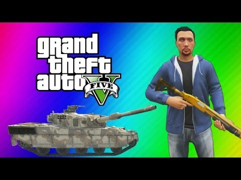 GTA 5 Online Funny Moments Gameplay - Police Station, Tank Launch Glitch, Wildcat Poop, Deep Snow!