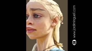 Caricatura del personaje Daenerys Targaryen/Khaleesi (Emilia Clarke) de Juego de Tronos. Realizada por Jordio, Jordi Minguell. Pintura digital. Canción: EPIC...
