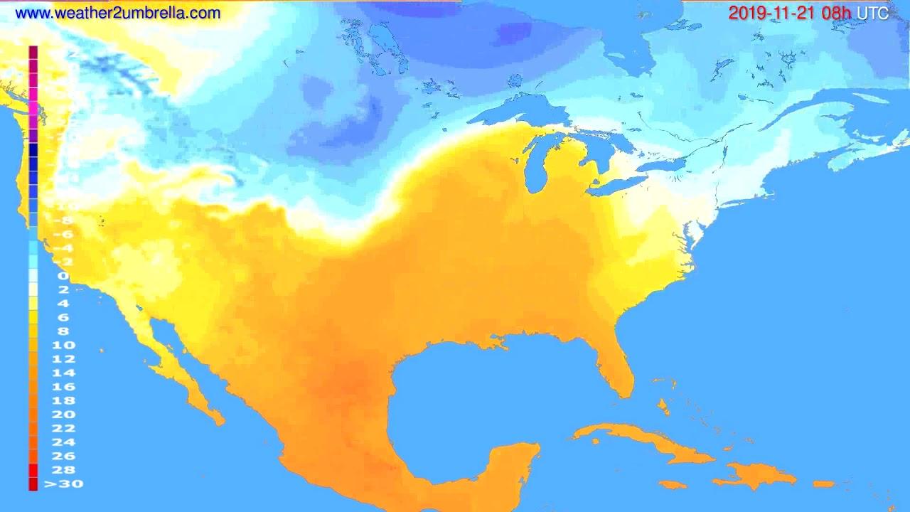 Temperature forecast USA & Canada // modelrun: 00h UTC 2019-11-20