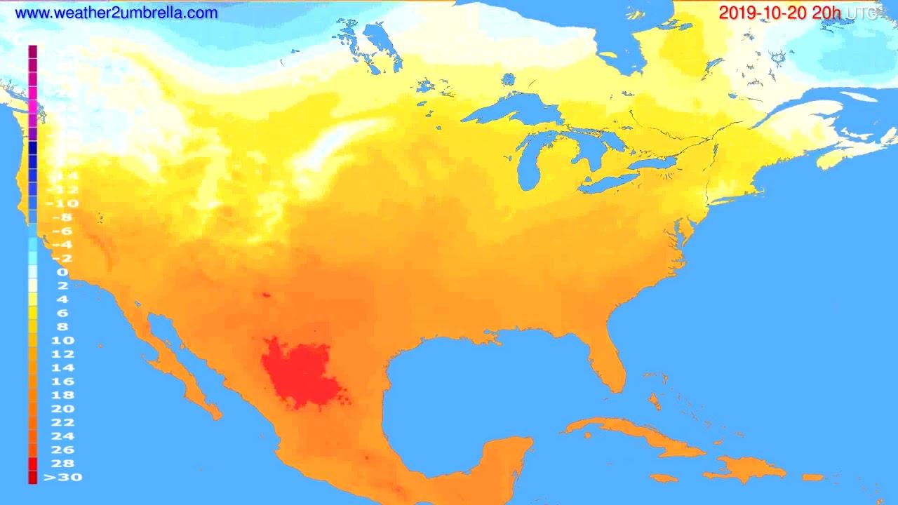 Temperature forecast USA & Canada // modelrun: 12h UTC 2019-10-19