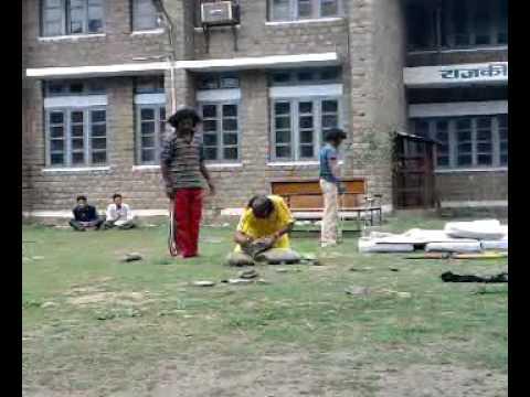 guy breaks stone with bear hands