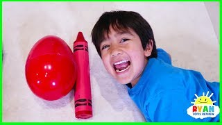 Video Ryan Pretend Play and Learn Colors with Giant Crayons Egg Surprise Toys! MP3, 3GP, MP4, WEBM, AVI, FLV September 2018