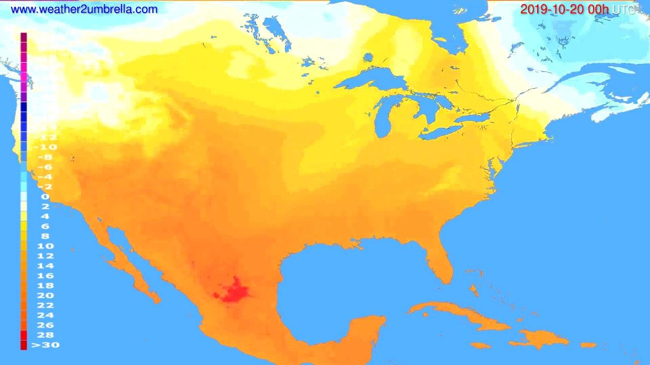 Temperature forecast USA & Canada // modelrun: 00h UTC 2019-10-19