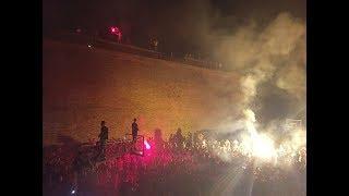 KK Crvena Zvezda players and fans celebrating the end of a long season at Kalemegdan in Belgrade, Serbia. After winning the...