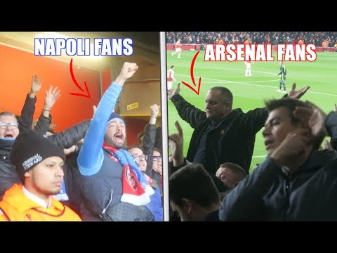 CRAZY NAPOLI FANS VS ARSENAL FANS At The Emirates... 😮