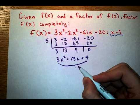 Factor Polynomials Using Synthetic Division