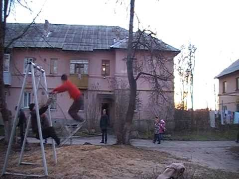 Russian Double Backflip Off Playground Swing