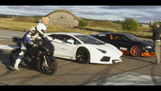10. Ultra HD 4K Drag RACE Bugatti Veyron Vitesse vs Lambo Aventador vs BMW S1000RR- presented by Samsung